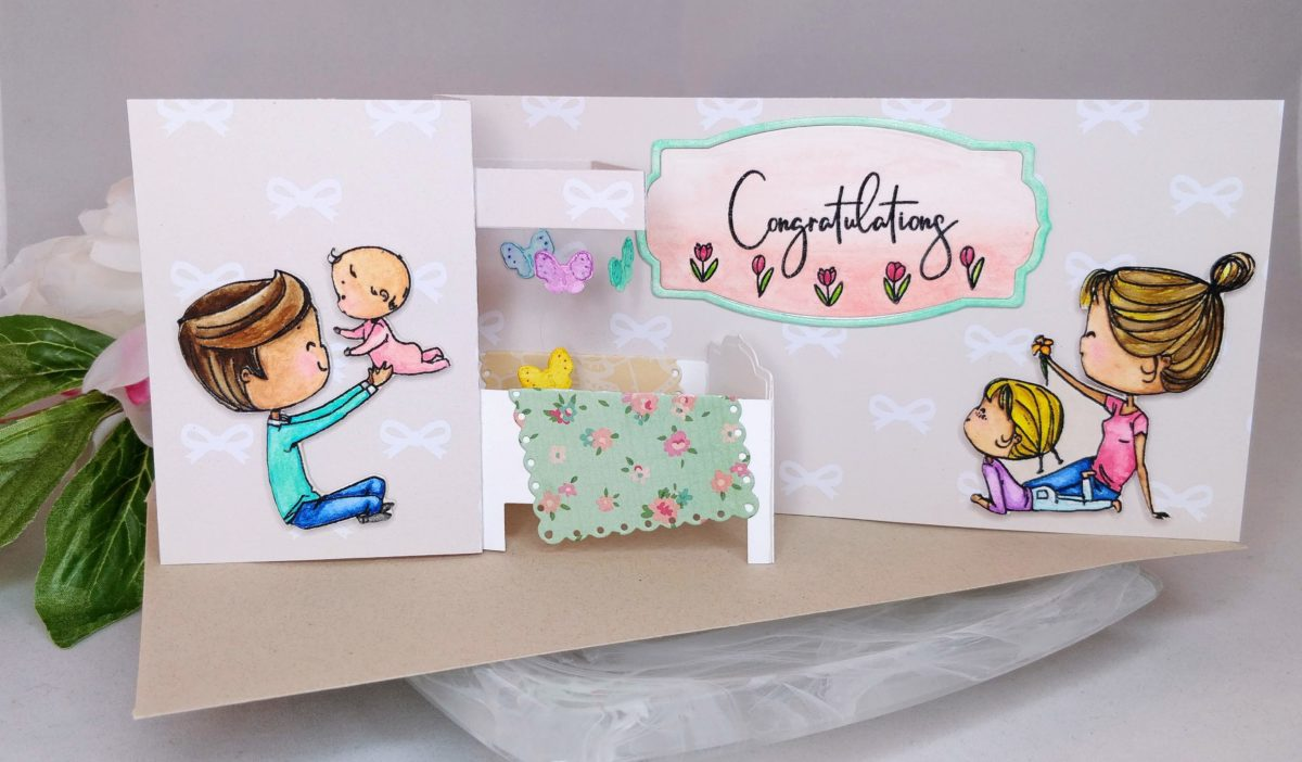 Pop-up Crib Baby Shower Card