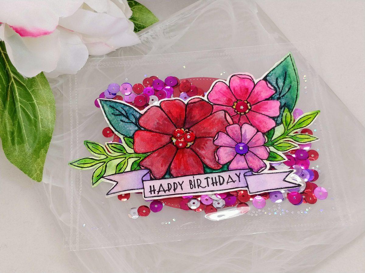 Floral Shaker Birthday Postcard