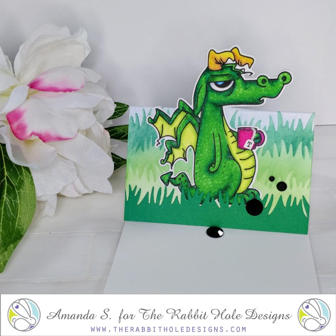 Caffeinated Dragon Window Card The Rabbit Hole Designs
